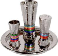 Hammered Havdallah Set Conical Shape- Multi color Rings