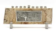 Wood and pewter Tree of life Menorah